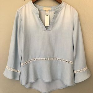 NWT Anthropologie Cloth & Stone chambray Top XS